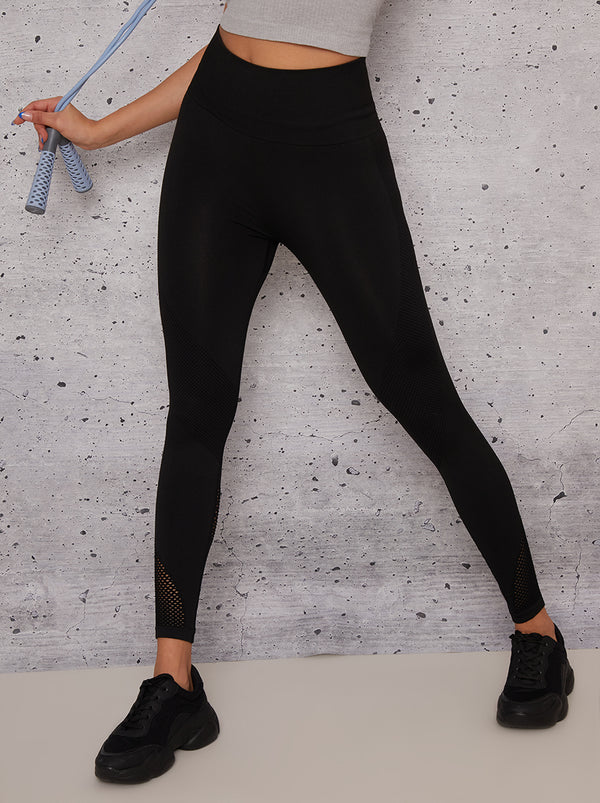 High Waisted Sports Leggings with Contouring Design in Black