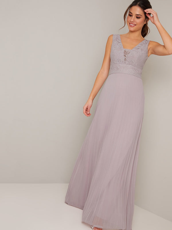 Lace Detail V Neck Pleat Maxi Dress in Purple