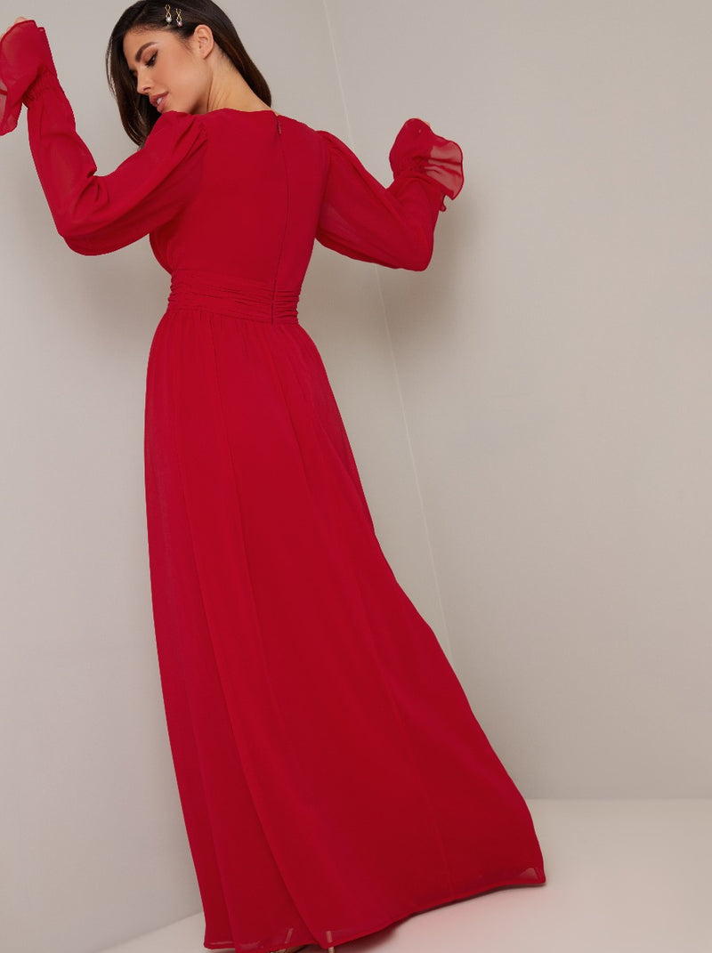 Tie Detail Fluted Sleeved Maxi Dress In Red