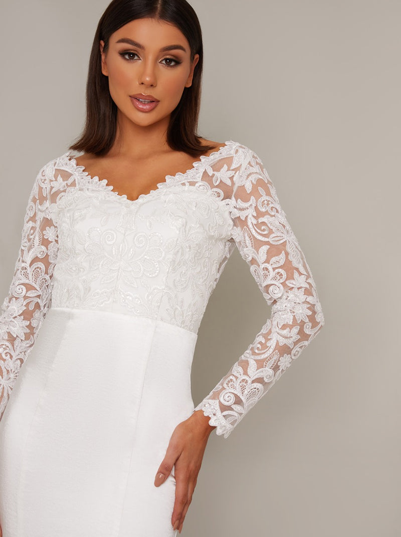 Bridal Long Sheer Lace Sleeved Wedding Dress in White