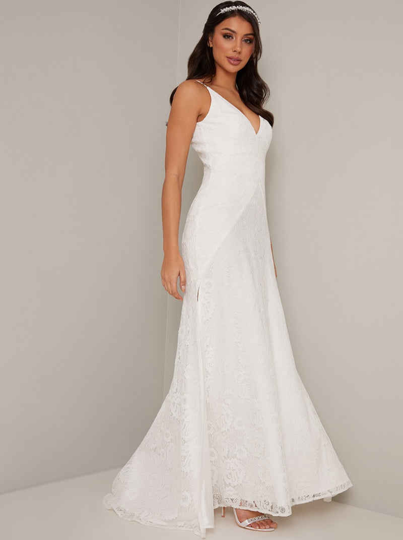 Bridal V Neck Lace Evening Maxi Dress in White