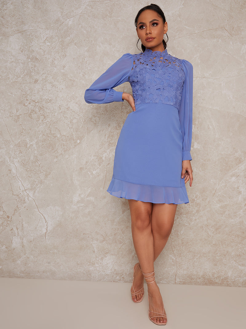 High Neck Crochet Midi Dress in Blue
