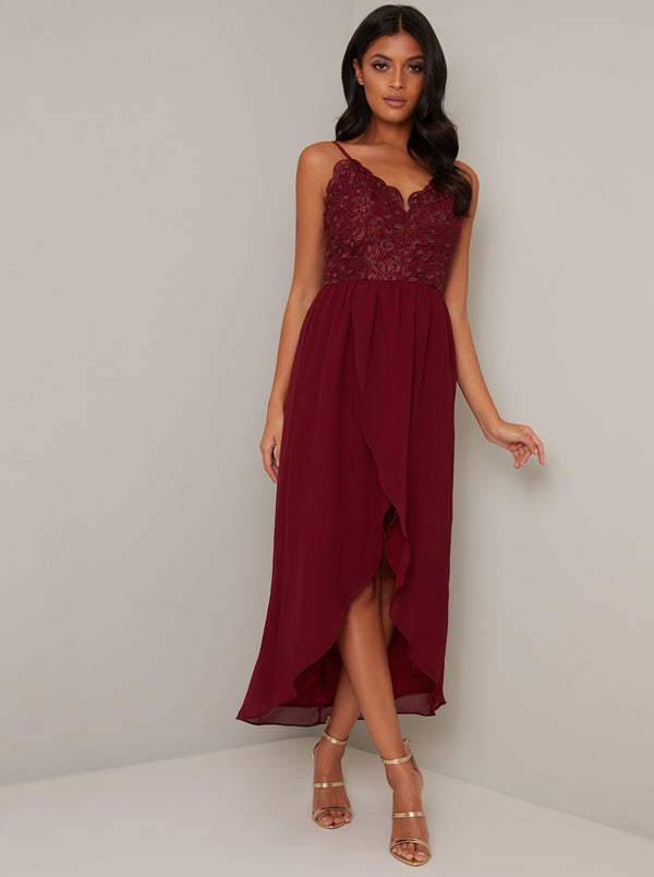 Cami Strap Crochet Bodice Tulip Dip Hem Dress in Red