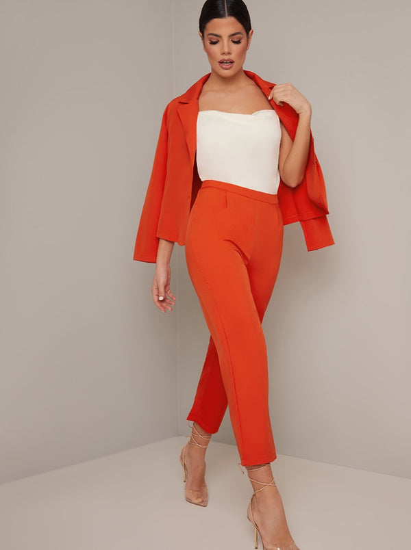 High Waist Crop Trousers in Red