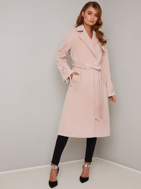 Trenchcoat with Tie Waist in Pink