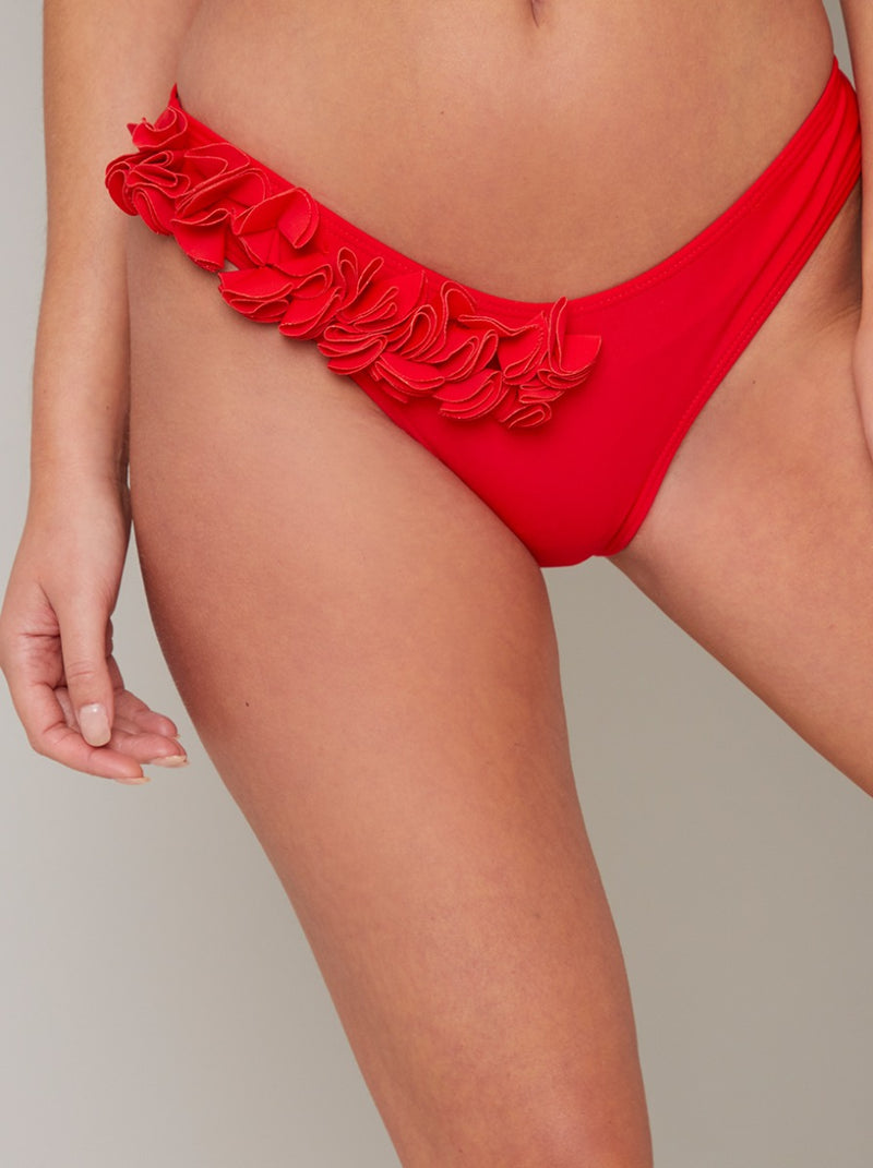 Floral 3D Detail Bikini Bottoms in Red