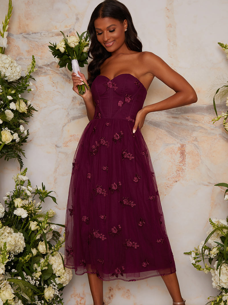 Bardot Lace Overlay Tulle Midi Dress In Burgundy