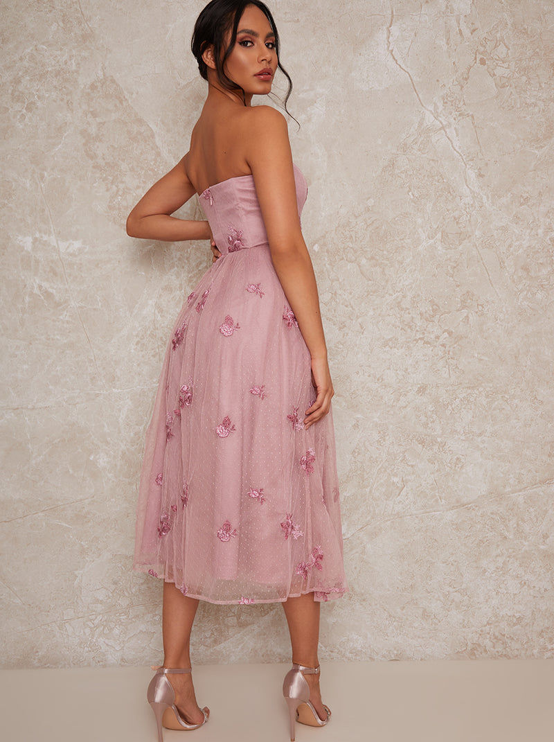 Bandeau Embroidered Midi Dress in Pink