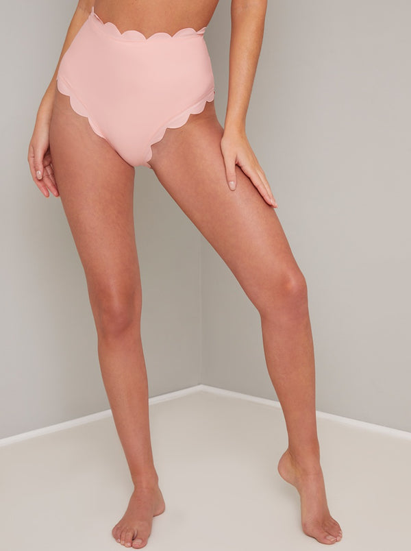 High Waist Scalloped Edge Bikini Bottoms in Pink