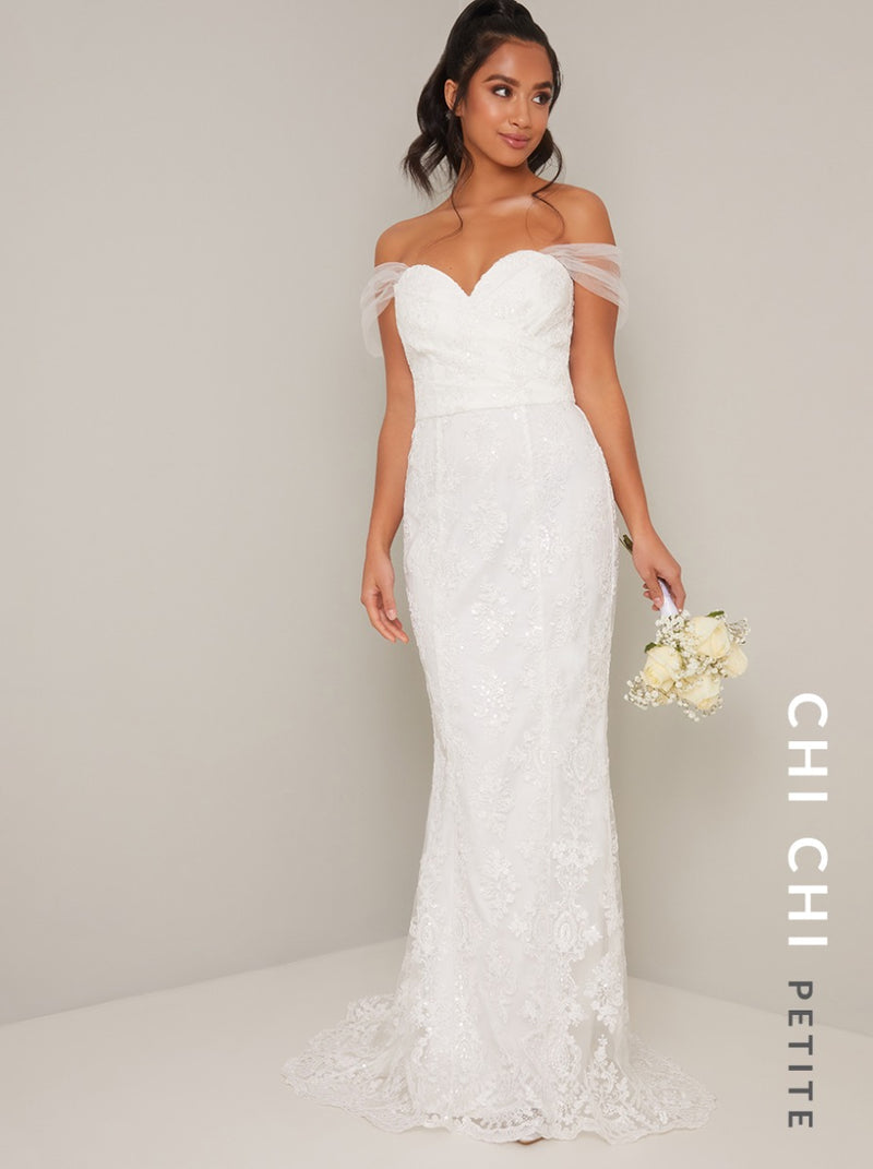 Petite Lace Bridal Bodycon Wedding Dress in White