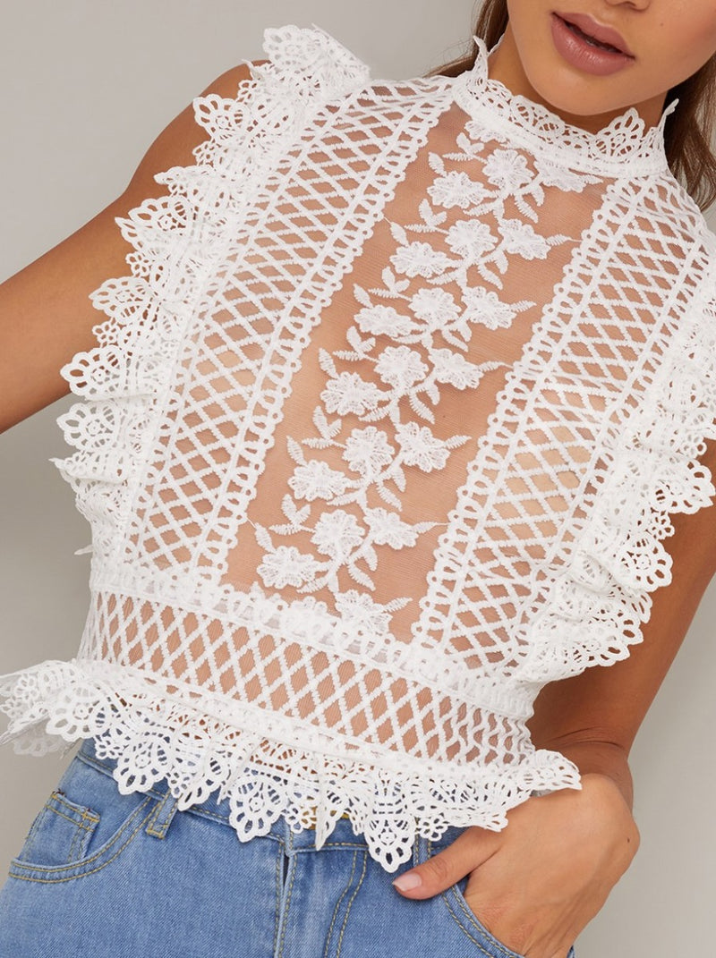 Lace Sheer High Neck Top in White