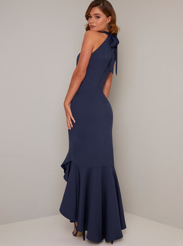 Halter Style Bodycon Ruffle Hem Maxi Dress in Blue
