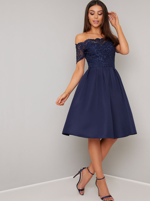 Emroidered Bodice Bardot Midi Dress in Blue
