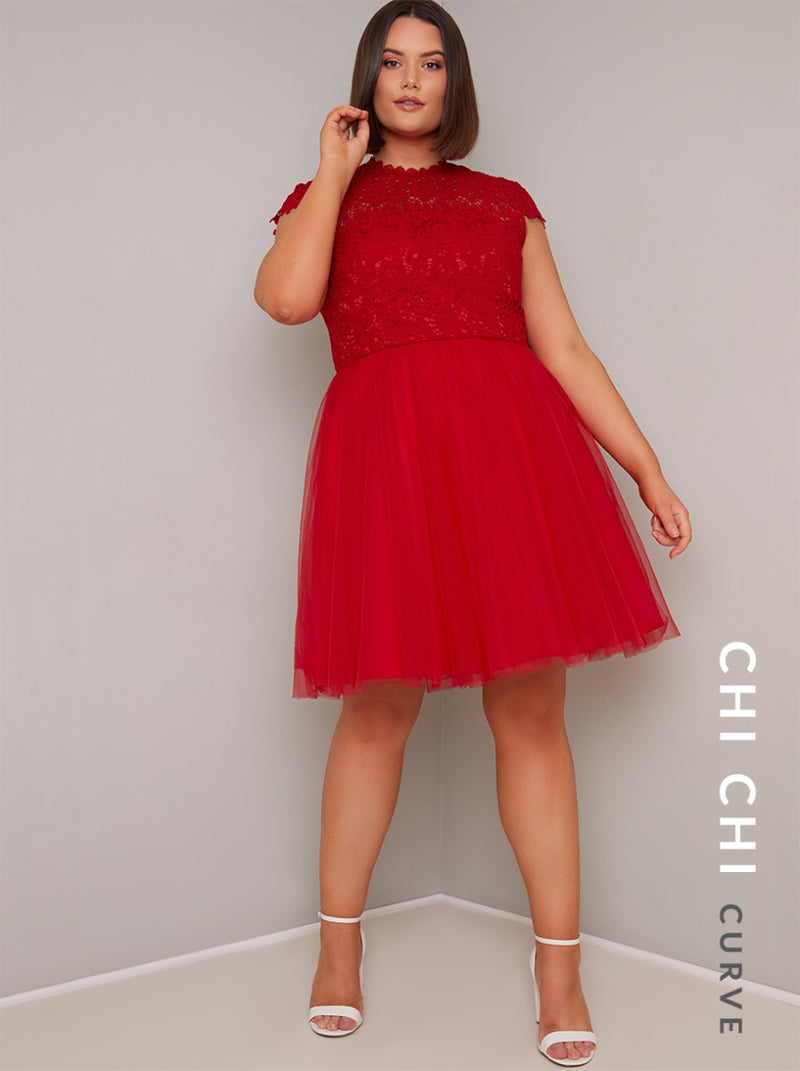 Plus Size Lace Bodice Tulle Midi Dress in Red