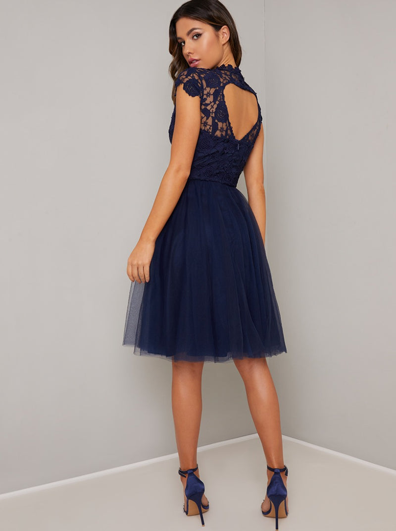 High Neck Lace Bodice Tulle Midi Dress in Blue