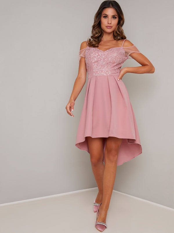 Lace Bodice Dip Hem Mini Dress In Rose Pink