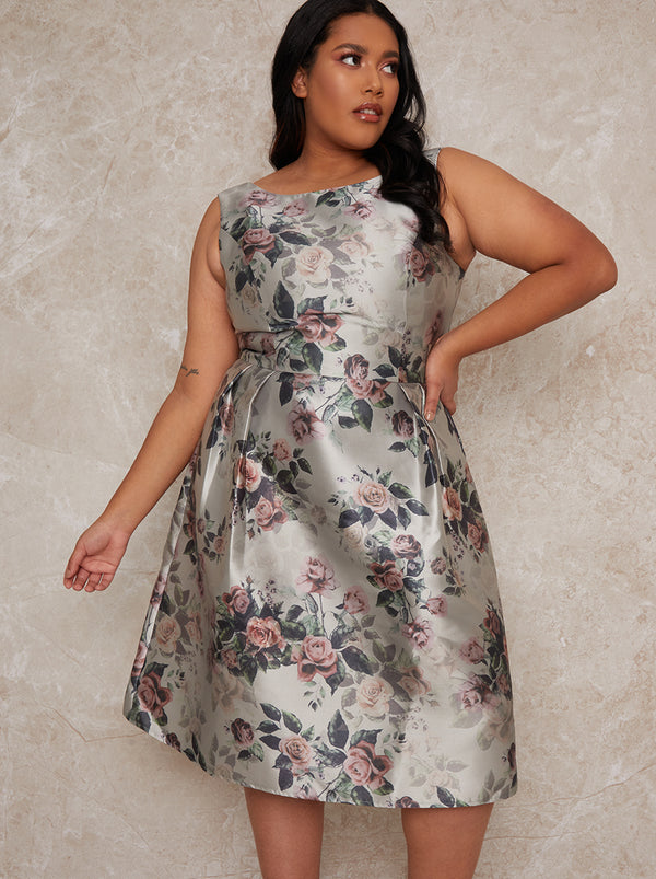 Plus Size Floral Midi Dress in Green