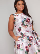 Plus Size Floral Print Box Pleat Midi Dress in Pink