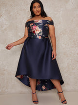 Plus Size Bardot Dip Hem Midi Occasion Dress