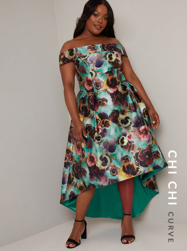 Plus Size Floral Print Bardot Dip Hem Dress in Green