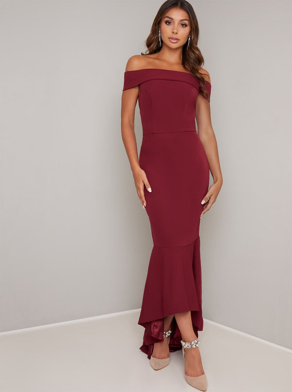 Bardot Bodycon Dip Hem Maxi Dress in Red
