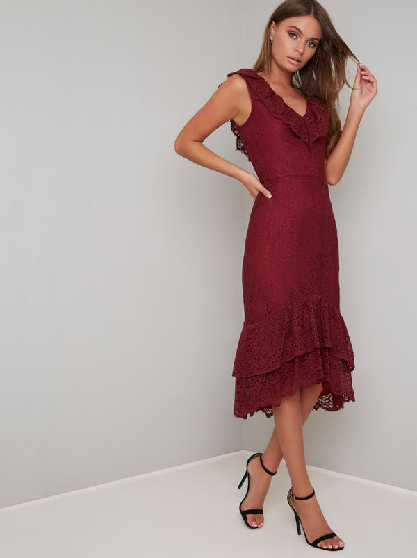 Lace Overlay Ruffle Hem Midi Dress In Burgundy