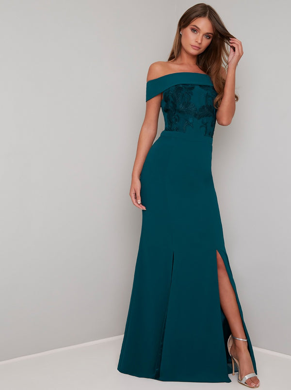 Bardot Neck Lace Detail Maxi Dress in Green