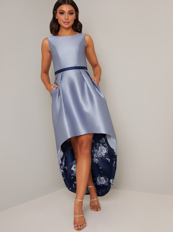 Floral Print Scoop Neck Dip Hem Dress in Blue