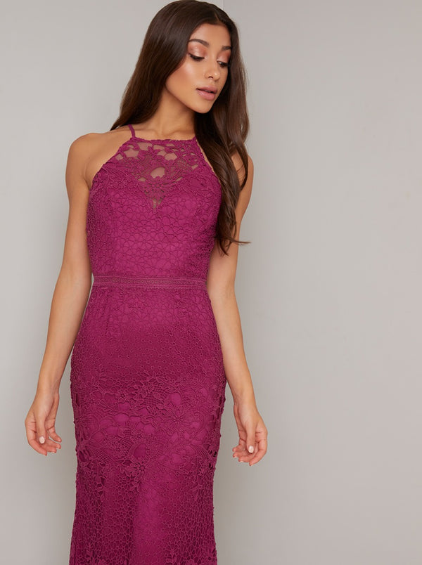 Crochet Bodycon Dress with Sheer Detailing in Fuschia