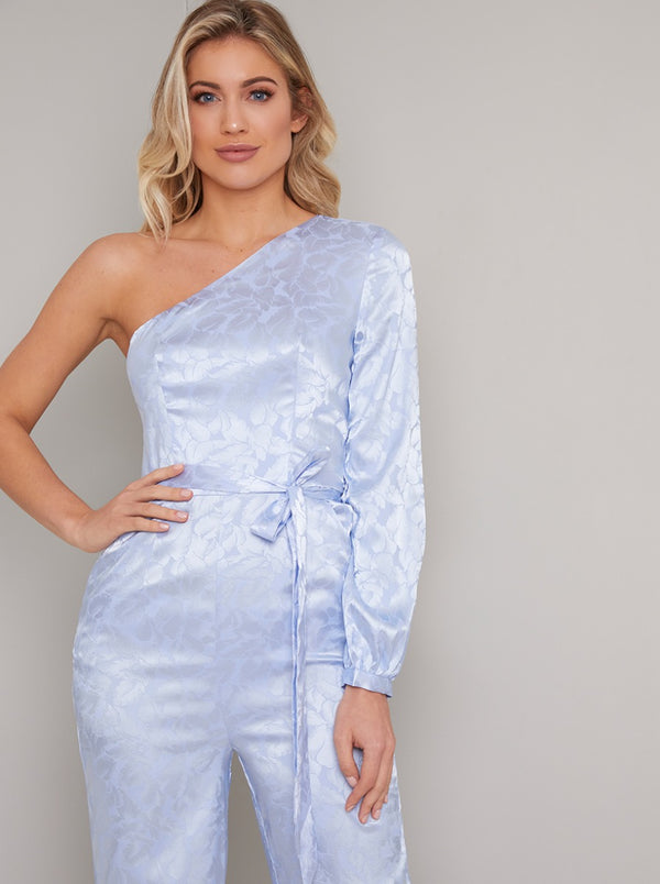 One Shoulder Tie Waist Straight Leg Jumpsuit in Blue