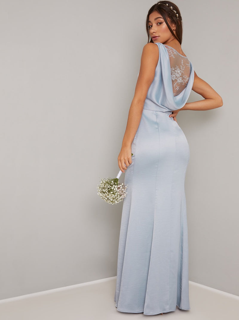 Cowl Back Lace Detail Satin Maxi Dress in Blue