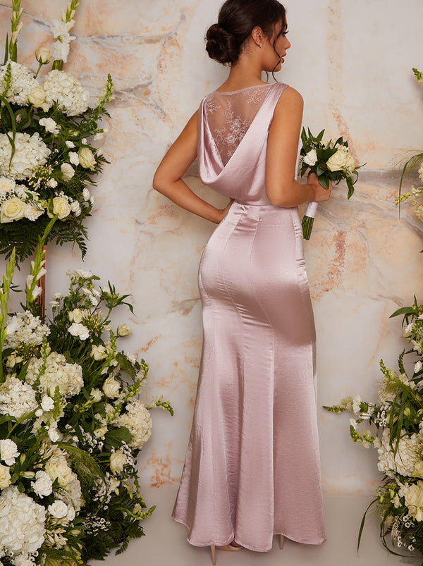 Lace Detail Satin Maxi Bridesmaid Dress in Pink