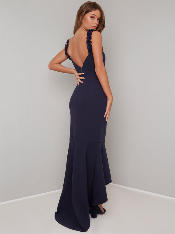 Bodycon Peplum Hem Maxi Dress in Blue