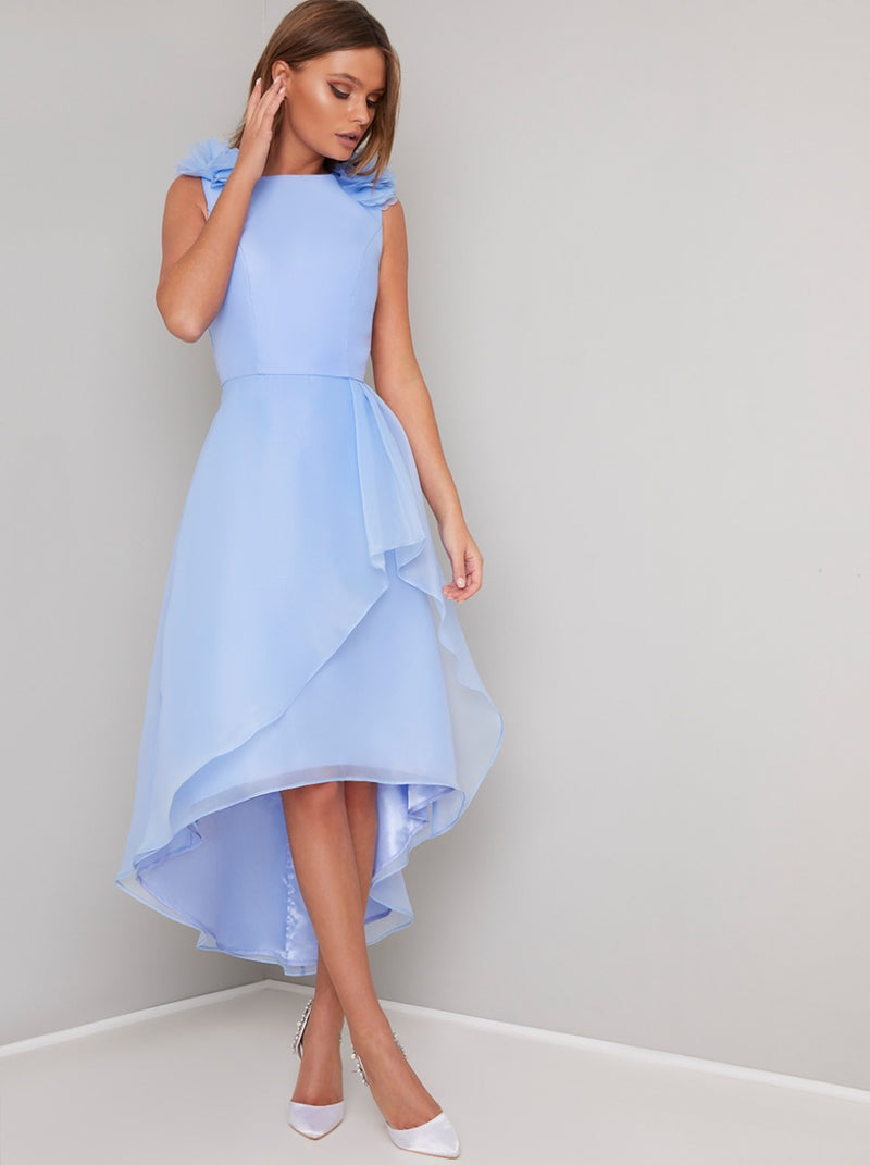 Ruffle Detail Organza Layered Midi Dress in Blue