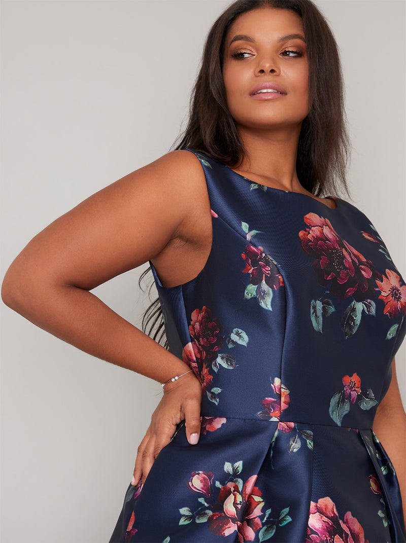 Plus Size Print Scoop Back Midi Dress in Blue