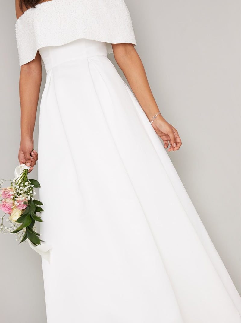 Embellished Bridal Dress with Fold Over Bardot in White