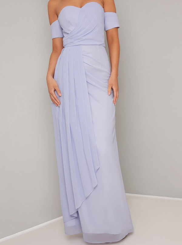 Strapless Ruffle Drape Design Maxi Dress in Blue