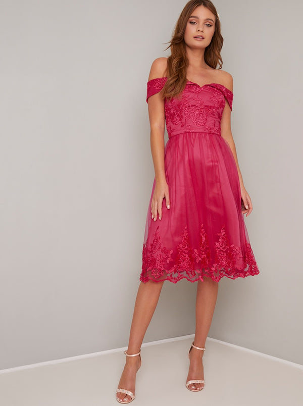 Lace Bardot Detail Midi Dress In Pink