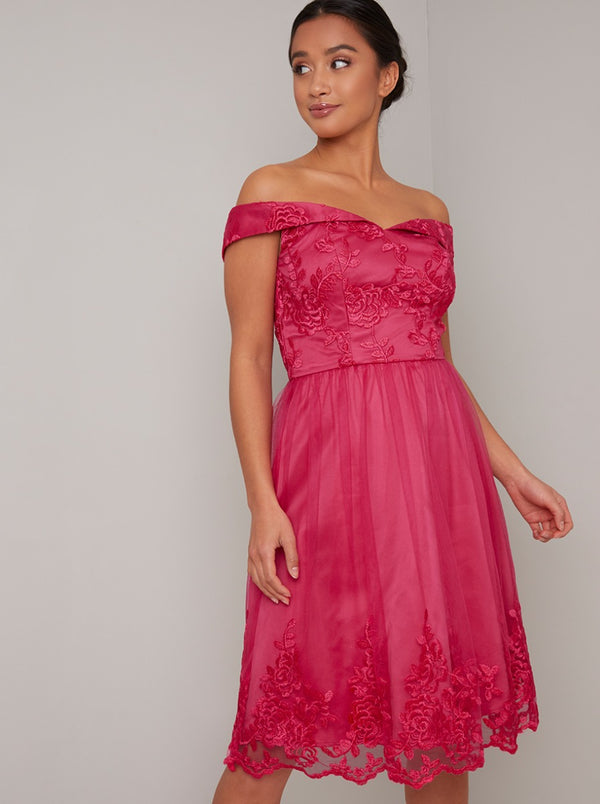 Petite Lace Bardot Detail Midi Dress In Pink