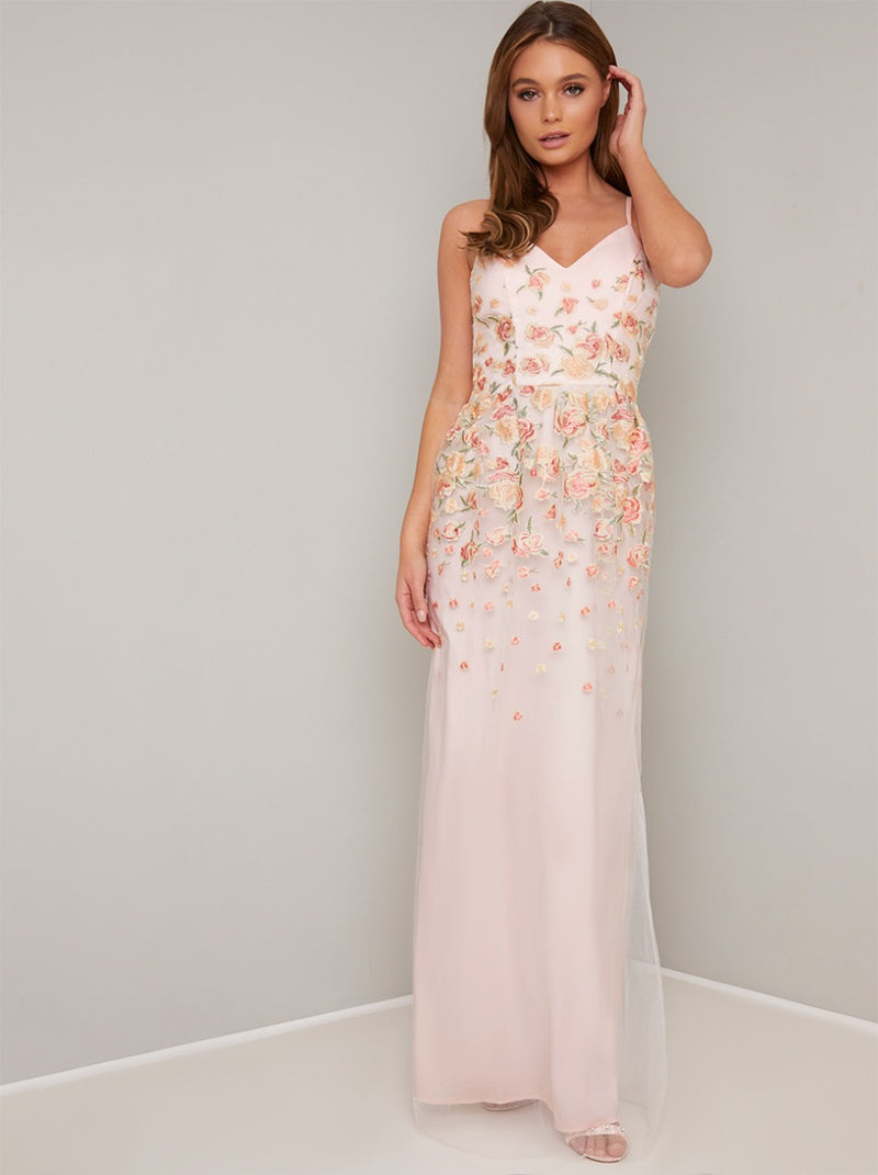 Cami Strap Lace Embroidered Overlay Maxi Dress in Nude