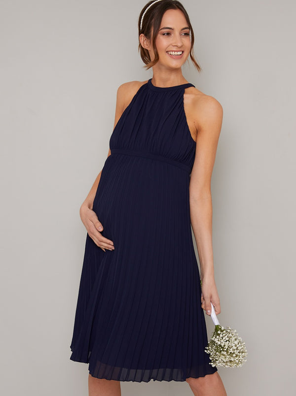 Maternity Halterneck Pleat Midi Dress in Blue