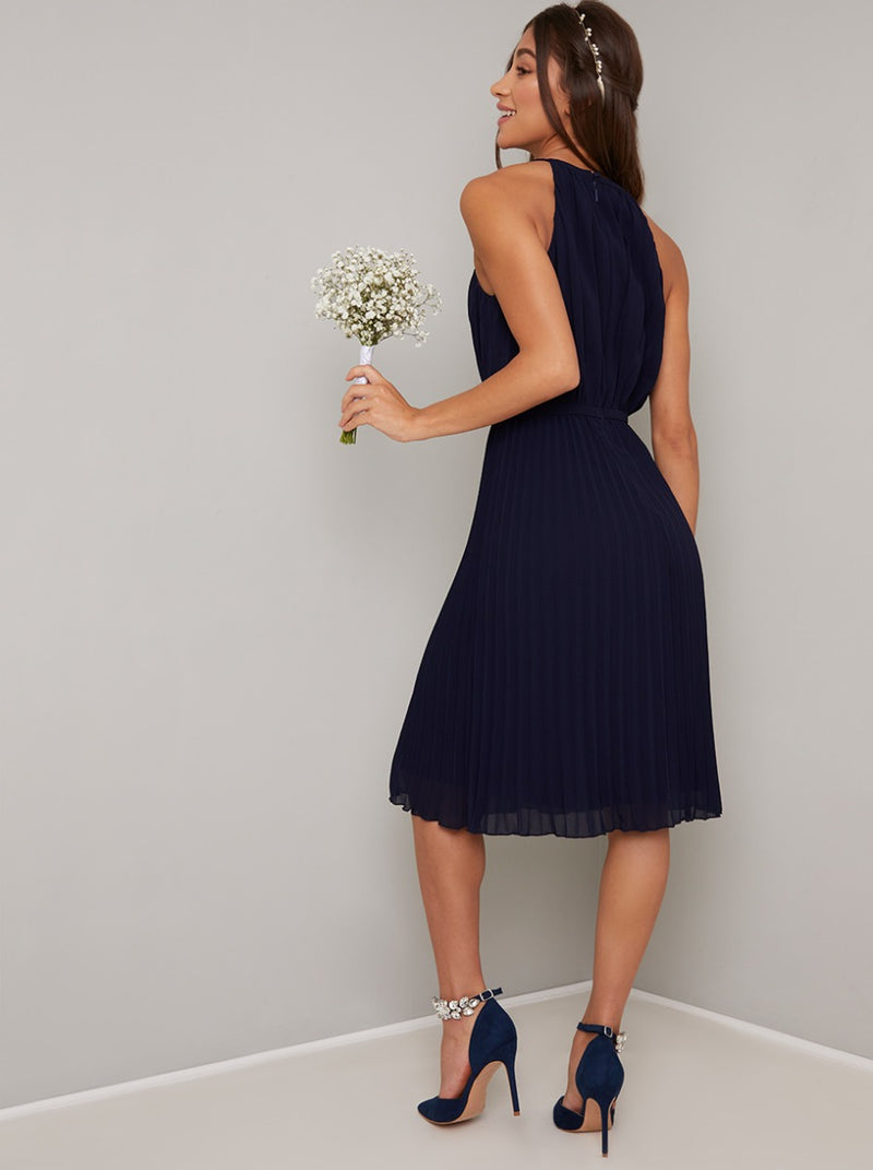 Halter Neck Pleat Detail Midi Dress in Blue