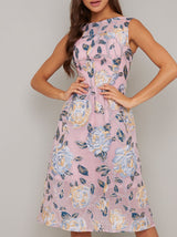 Floral Jacquard Midi Dress In Pink
