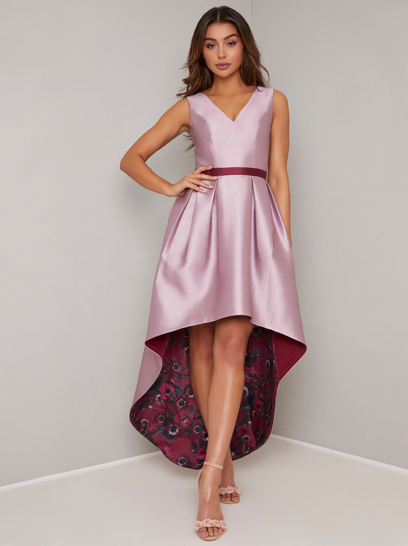 Floral Print Dip Hem Dress with Fitted Bodice in Pink