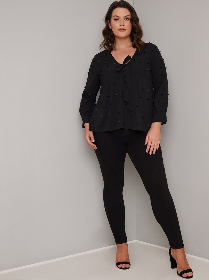 Plus Size Beaded Long Sleeved Top in Black