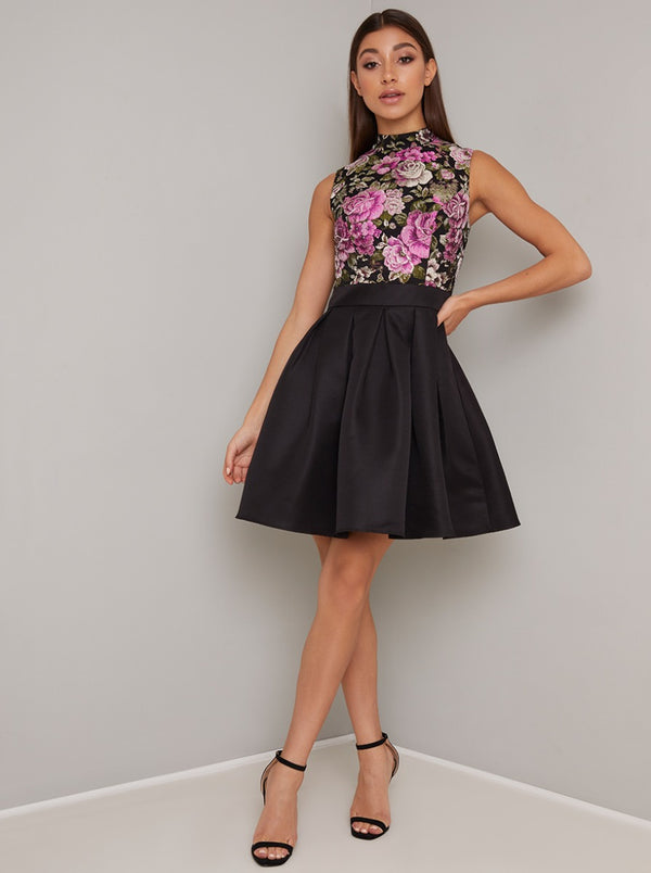 Jaquard Floral Print Mini Dress in Black
