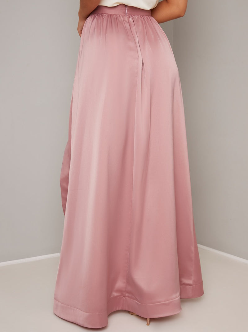 Satin Dip Hem Midi Skirt in Pink