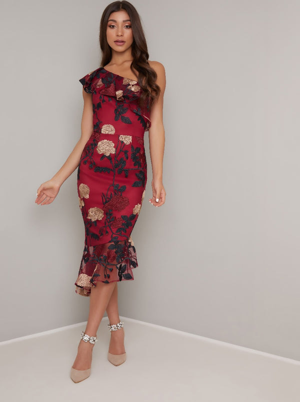 Embroidered Overlay Frill Hem Midi Dress in Red