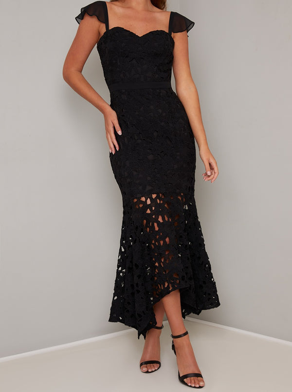 Lace Bodycon Dip Hem Dress In Black