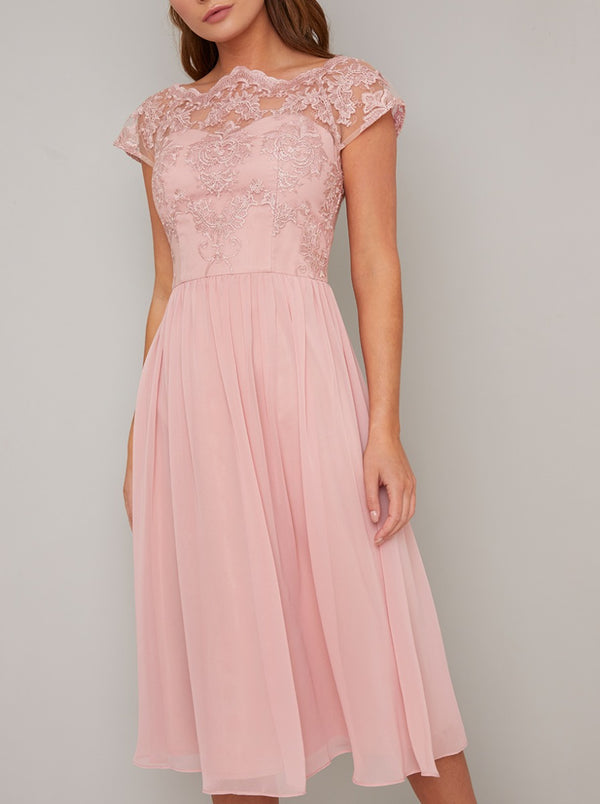 Tall Embroidered Midi Dress in Rose Gold